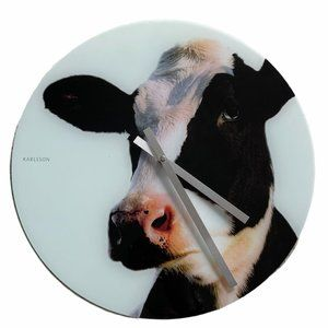 "KARLSSON Glass Cow Face Wall Clock 16"" Black White"